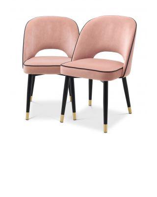 Silla de comedor Cliff (set de 2) terciopelo rosa pastel Savona