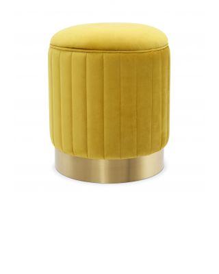 Taburete Allegra de Eichholtz con tapizado en terciopelo Roche amarillo