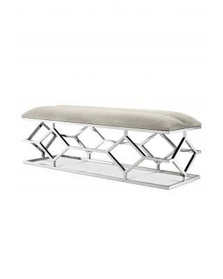 Banco pie de cama plateado Trellis de Eichholtz