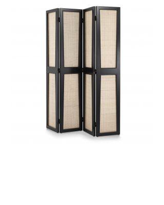 Biombo de 4 paneles Juliane con acabado negro de Eichholtz