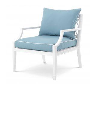 Sillón Bella Vista de Eichholtz color blanco y azul mineral