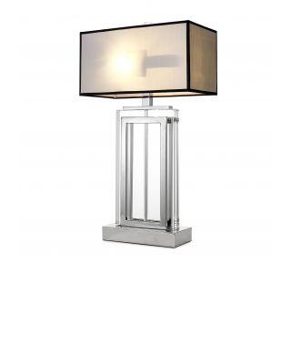 Lámpara de mesa Arlington de Eichholtz acabado niquelado con pantalla gris
