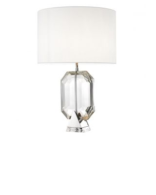 Lámpara de mesa plateada Emerald de Eichholtz con pantalla blanca
