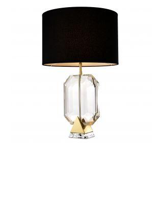 Lámpara de mesa dorada Emerald de Eichholtz con pantalla negra