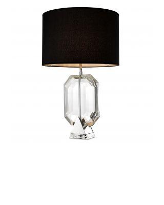Lámpara de mesa plateada Emerald de Eichholtz con pantalla negra