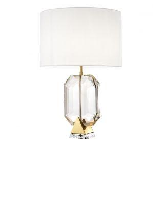 Lámpara de mesa dorada Emerald de Eichholtz con pantalla blanca