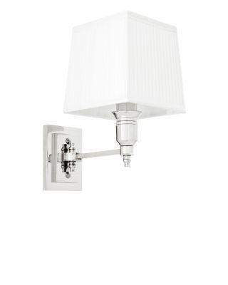 Lámpara de pared niquelada Lexington de Eichholtz con pantalla blanca