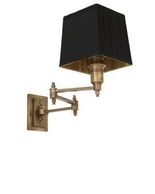 Lámpara de pared Lexington de Eichholtz de latón antiguo con pantalla negra