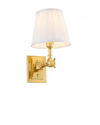 Lámpara de pared Wentworth dorada de Eichholtz con pantalla blanca