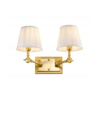 Lámpara de pared Wentworth doble dorada de Eichholtz con pantallas blancas