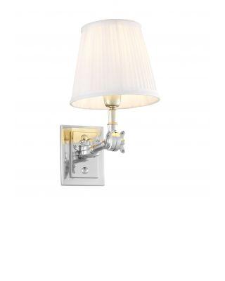 Lámpara de pared Wentworth niquelada de Eichholtz con pantalla blanca