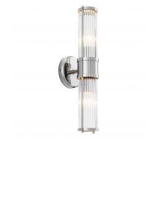 Lámpara de pared Claridges doble con acabado de níquel