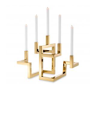 Candelabro de diseño Eichholtz Skyline dorado brillante