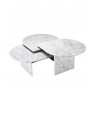 Set de 3 mesas de centro Naples de marmól de Carrara