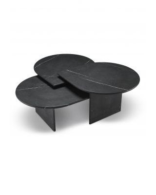 Set de 3 mesas de centro Naples de marmól negro
