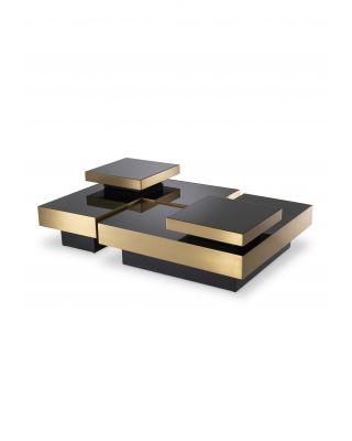 Mesa de centro modular Nio negra y acabado en latón (4 elementos)