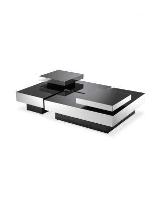 Mesa de centro modular Nio negra y plateada (4 elementos)