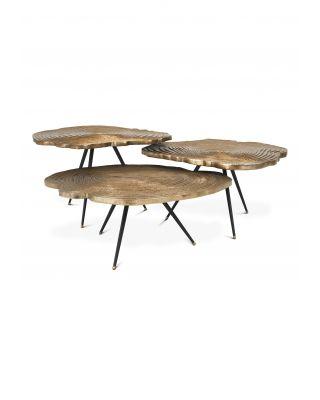 Juego de 3 mesas de centro Quercus Eichholtz acabado láton dorado