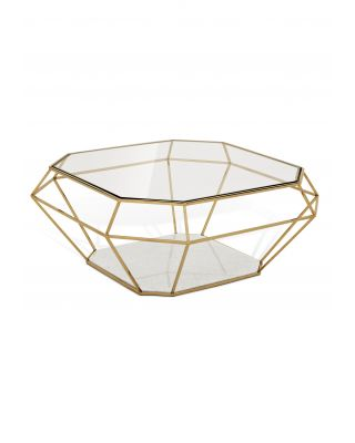 Mesa de centro dorada Asscher de Eichholtz