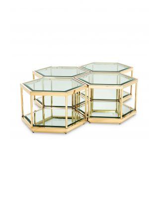 Juego de 4 mesas de centro de diseño hexagonal en oro Eichholtz
