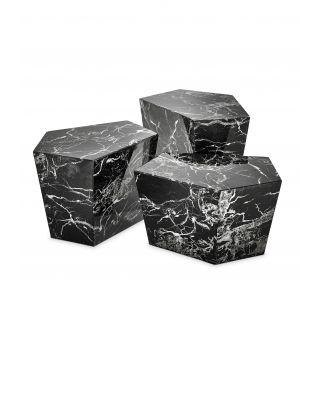 Mesa de centro Prudential set de 3 de Eichholtz de marmól negro