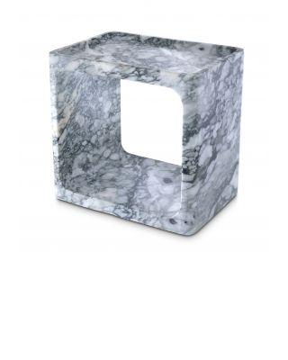 Mesa auxiliar Vesuvio de mármol blanco pulido