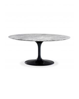 Mesa de comedor ovalada Solo con tablero de marmól artificial gris