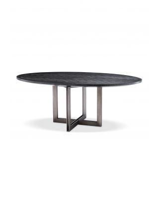 Mesa de comedor ovalada Melchior de Eichholtz acabado color carbón
