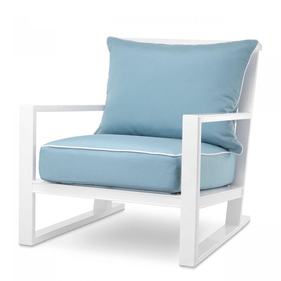 Sillón Como blanco y azul mineral de Eichholtz