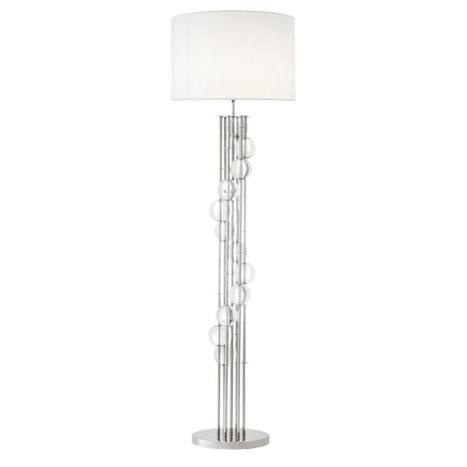 Lámpara de pie niquelada y blanca Lorenzo de Eichholtz