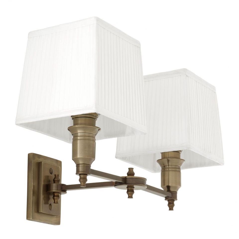 Lámpara de pared doble Lexington de Eichholtz con pantallas blancas