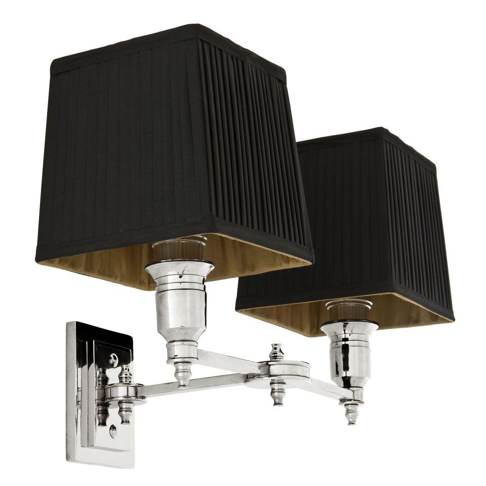 Lámpara de pared doble niquelada Lexington de Eichholtz con pantallas negras