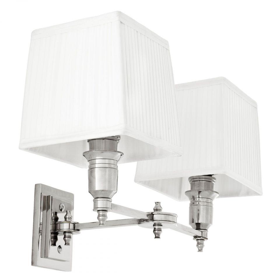 Lámpara de pared doble niquelada Lexington de Eichholtz con pantallas blancas