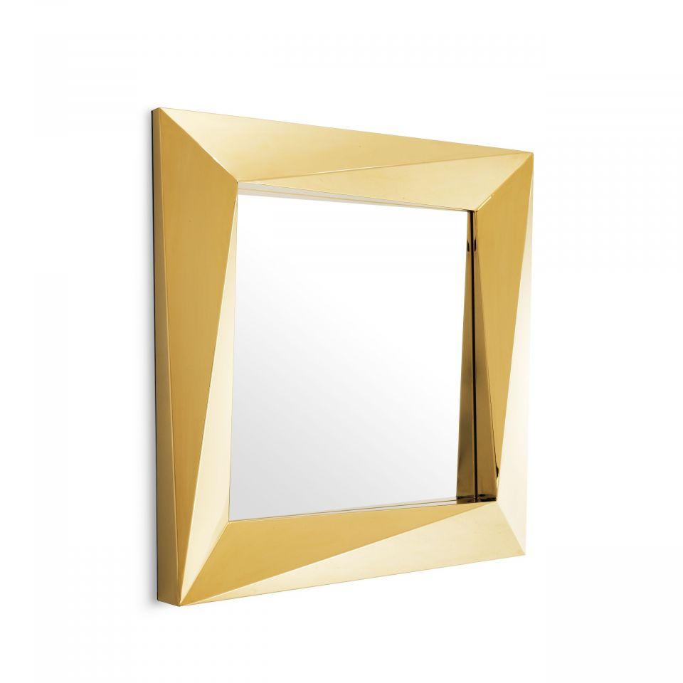 Espejo Rivoli cuadrado acero inoxidable dorado pulido
