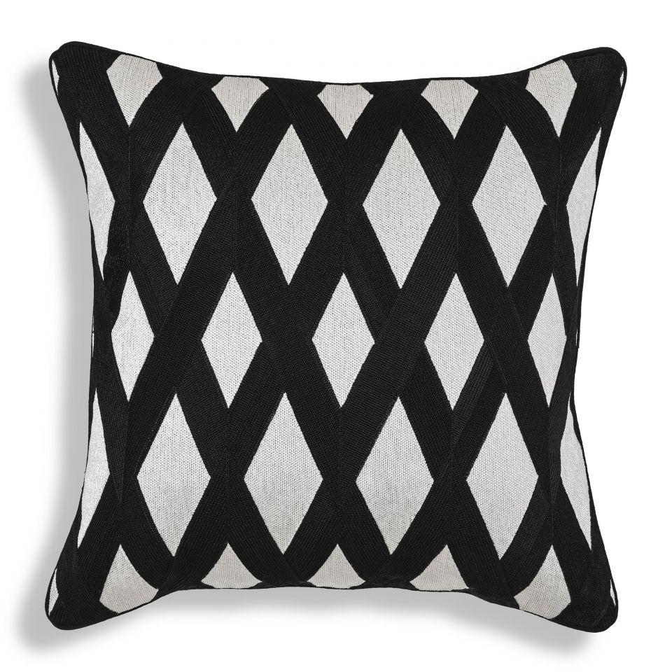 Cojín cuadrado Splender color blanco y negro