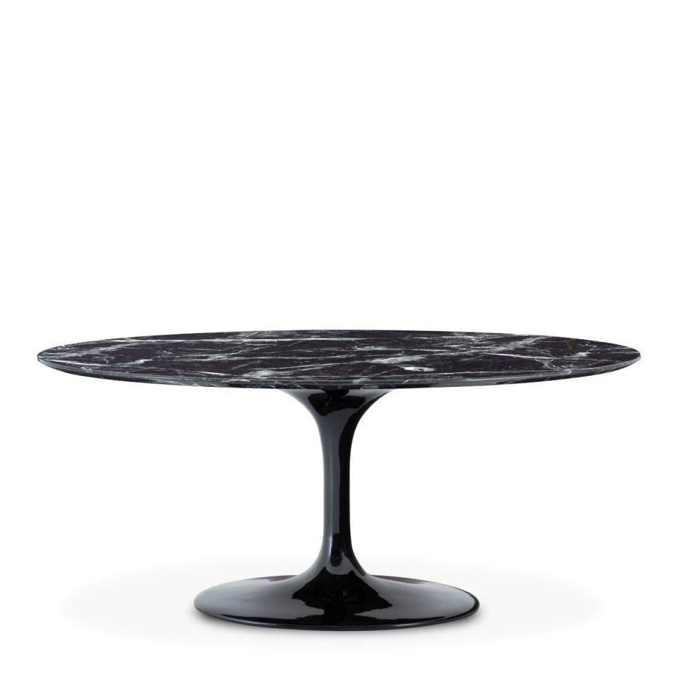 Mesa de comedor ovalada Solo con tablero de marmól artificial negro