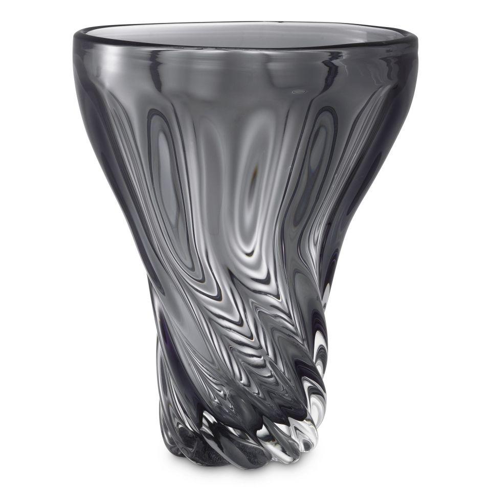 Jarrón Angelia de Eichholtz de cristal ahumado gris