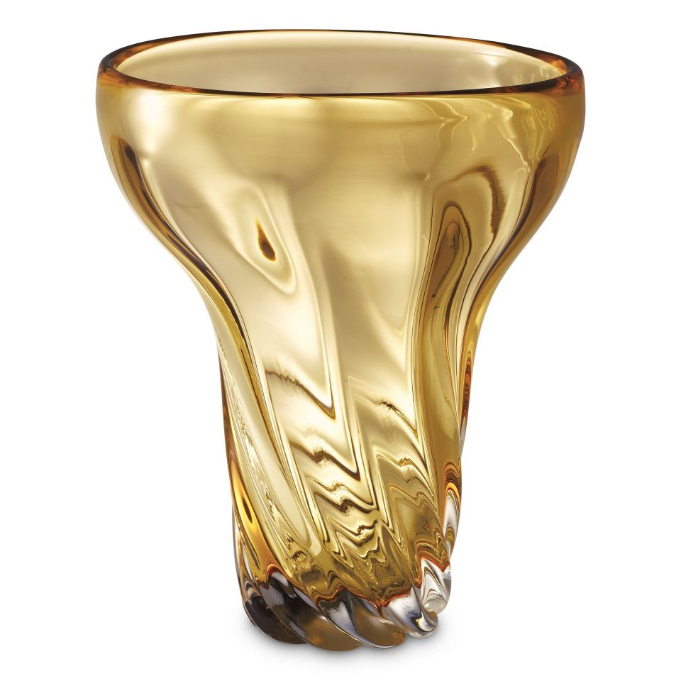 Jarrón Angelia de Eichholtz de cristal ámbar dorado